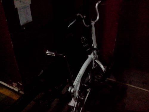 Sepeda diparkir aja. Biasanya kalau gak basah ya dilipet dibawa ke dalam kantor...