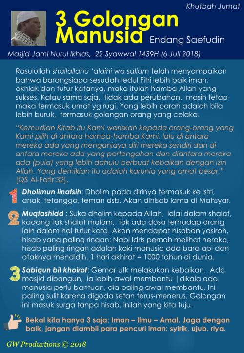 Khutbah Jumat - Nurul Ikhlas 6Jul2018